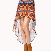 Geo Print High-Low Skirt