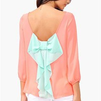 Waldorf Colorblock Blouse - Neon Pink