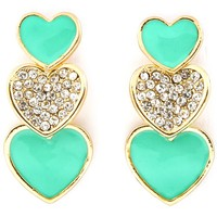 Tiffany Teal Heart Drop Earrings