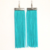 Fringe Earrings. Long Earrings. Dangle Turquoise Blue Earrings.