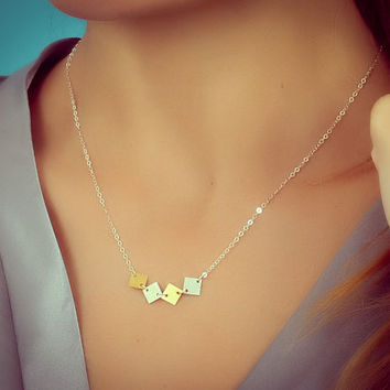 """Square necklace, geometric necklace, square silver necklace, gold square pendant, bridesmaid necklace, gift under 20, everyday, """"Pandora"""""""