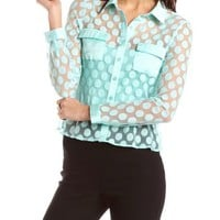 Sheer Polka Dot Lace Blouse: Charlotte Russe