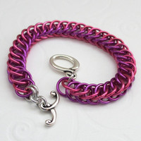 Girl's bracelet pink and violet children's by TattooedAndChained