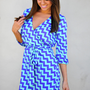 Reverse The Chevron Spell Dress: Aqua | Hope's