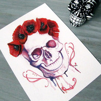 Skull Watercolor -Art Print - La Muerte Poppies - Skull - Tattoo -  Red - Purple - Flower