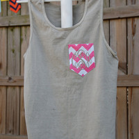 Monogrammed Comfort Colors Pocket Tank - Monogram, Tanktop, Chevron