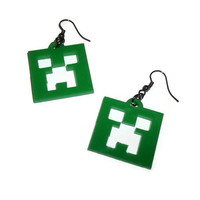 Minecraft Creeper Earrings, Green Gaming Jewelry