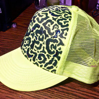 Handdrawn and adorned cheetah print NEON trucker by SugarandSpeisz