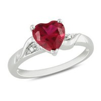 Amazon.com: Sterling Silver 1 5/8 CT TGW Created Ruby 0.01 CT TDW Diamond Heart Ring (G-H, I3): Jewelry