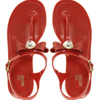 Love Moschino Red Jelly Flat Sandals