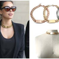 Rihanna Necklace, Gold Chunky ID Link Chain,  Kim Kardashian, Gold Statement Necklace,  Celine Necklace, Inspired Celebrity Necklace