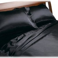Amazon.com: Divatex Home Fashions Royal Opulence Satin Full Sheet Set, Black: Home & Kitchen
