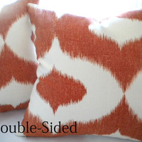 Ikat design Orange Pumpkin pillow cover 18 x 18 Double Sided