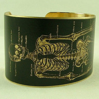 Anatomical Human Skeleton Brass Cuff Bracelet in by JezebelCharms