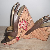 beautiful Wedges Beaded cork heels ... brown sling backs .. open toe .. Imagine Vince Camuto sz 8