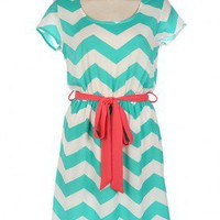 Ribbon Sash Chevron Dress