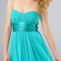 Custom Turquoise Chiffon Sweetheart Neckline Ruffle Band Tea Length Cocktail Dress