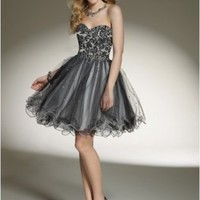 Fashion Tulle Strapless Sweetheart Neckline with Lace Appliqued Bodice 2012 Mini Ball Gown Cocktail Dress