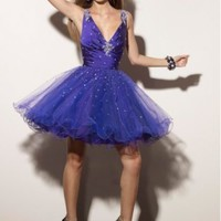Fashion Taffeta and Tulle V-Neckline with Beaded Rouched Bodice 2012 Mini Ball Gown Cocktail Dress