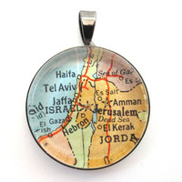 Vintage Map Pendant of Israel in Glass Tile by CarpeDiemHandmade