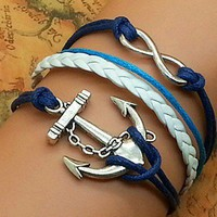 Infinity anchor blue braided rope bracelet