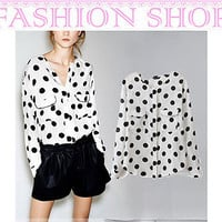 Women Round Collar Long Sleeve Chiffon White Shirt Tops Blouse with Black Dots