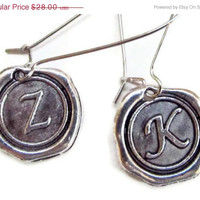 Spring SALE Alphabet Initials Earrings,  Initial, Monogrammed, Personalized Jewelry,Antique Silver Earrings.