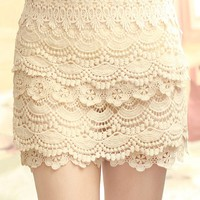 Sweet Lace Cake Mini Skirt For Women