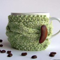 Green Apple Cup Cozy Avocado Mug Sleeve Grass Moss by natalya1905