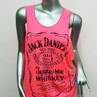 Jack Daniel's Tennessee Whiskey T-Shirt Women shirt Tank Top vest shirt silkscreen Chic shirt Rock Punk classic backless Pink Q103 Size M L