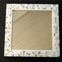 White Mosaic Wall Mirror