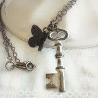 Rustic White Key & Butterfly Necklace - Key Necklace, Skeleton Key, Shabby Chic Jewelry, Vintage Inspired