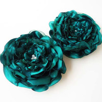 Bridal Flower Hair Accessories, Bridesmaids Hair Pieces, Wedding Hair Flower, Emerald Green Satin and Organza Fabric Floral Clips - Set of 2