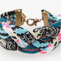Hand Printed 'Insanity' Braided Cuff Bracelet by thiefandbandit