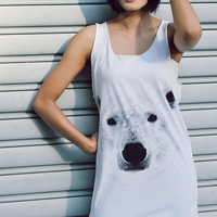 Bear Tank Top Animal Screenprint Women T-shirt Women Tank Top Tunic Shirt Unisex Shirt Vest Women Sleeveless Singlet White Tank.