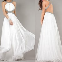 long white dress, girls white dress, simple white dress, backless prom dress, backless dress, RE079