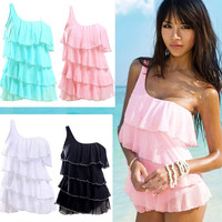 Elegant Monokini One Shoulder Pad Layered Ruffle Swimwear Swimsuit Swimdress