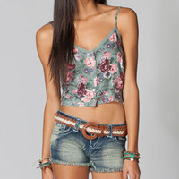 FULL TILT Button Front Floral Womens Crop Top 210784957 | Tops | Tillys.com