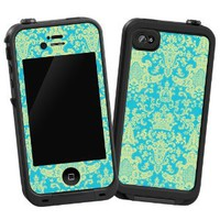 "Vintage Blue Green Damask ""Protective Decal Skin"" for LifeProof 4/4S Case"