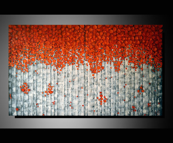 Original modern fine art 40x24 home from zarasshop on etsy for Textured acrylic abstract paintings