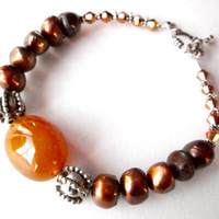 Brown pearl bracelet, yellow chalcedony gemstone jewelry with silver pewter beads and toggle clasp