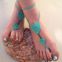 Anklet Mint Green Barefoot Sandals - Crocheted Heart Anklet - Beaded Foot Jewelry - Beach Wedding - Soleless - Bridesmaid accessory