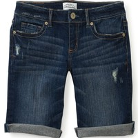 Dark Wash Wide-Stitch Denim Bermuda Shorts - Aeropostale