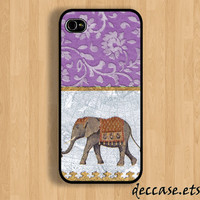 iPhone case IPHONE 5 CASE lace ELEPHANT Purple iPhone 4 case iPhone 4S caseHard Plastic Case Rubber Case