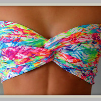 Neon Chevron Bandeau - Spandex Bandeau - Bandeau Top