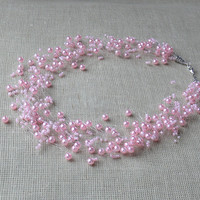 Wedding Necklace. Pink Necklace. Beaded Multistrand Necklace. Beadwork
