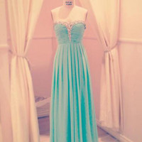 A-line Sweetheart Floor Length Prom Dress with Beadings
