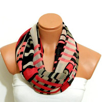 Infinity Scarf,Burgundy,Black and beige striped scarf,,Loop Scarf,Circle Scarf, Striped Chiffon Scarf,Cowl Scarf,Nomad Cowl.Eternity Scarf