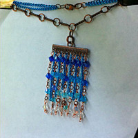 "Ombre  ""crystal waters"" cascading blues swarovski crystal necklace for Mothers Day"
