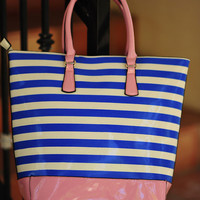 Escape To Paradise With Me Tote: Blue/Pink | Hope's